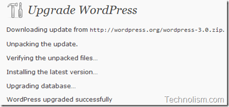 wordpress upgrade to 3.0 successfull