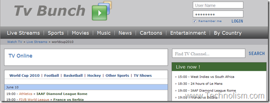 tv bunch live football streaming online
