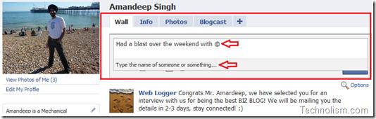 Facebook status update publisher box