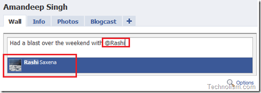 Tagging friends in facebook status message
