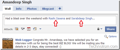 facebook tagging feature - add friends