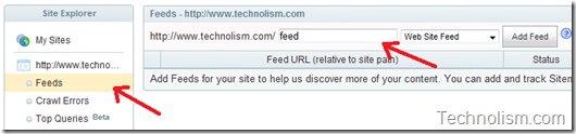 How to add site feed to yahoo search engine