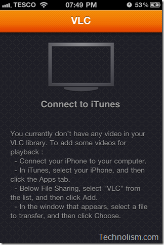 VLC media player_no video added_Add connecting to iTunes