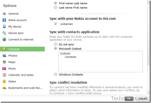 Contacts sync option in nokia ovi suite