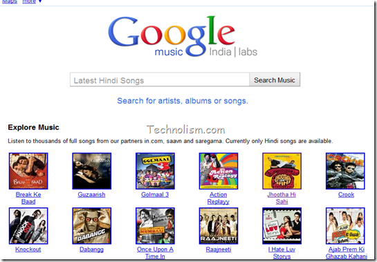 Google music search engine for india hindi songs