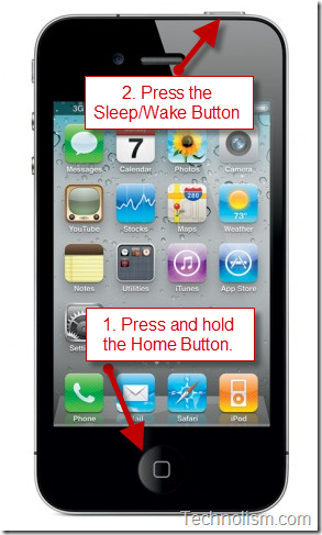 Use iPhone home button and sleep/wake button to take screen capture of iphone screen