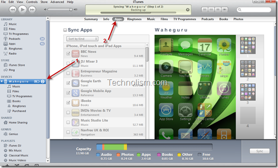 Select Apple device | Click on Apps Tab