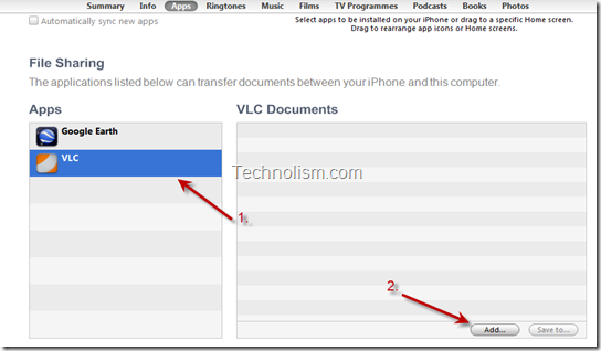 File Sharing Section Select VLC and Add