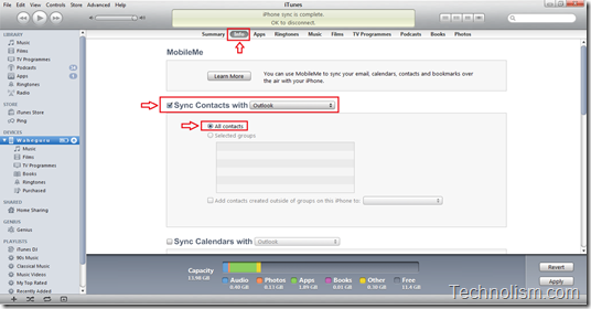 sync microsoft outlook contacts with iphone using itunes