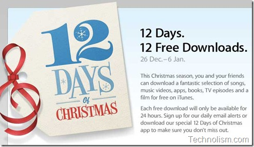 Apple 12 days of christmas free itunes giveaway