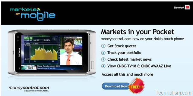 Markets on Mobile: Official Moneycontrol.com app launched for Nokia Touch Screen Phones as well!