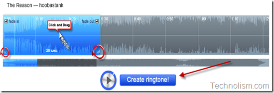 Select the part of song to be set as Ringtone in Audiko.net