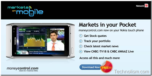 Markets on Mobile - Moneycontrol.com app for Nokia Touch Screen phones