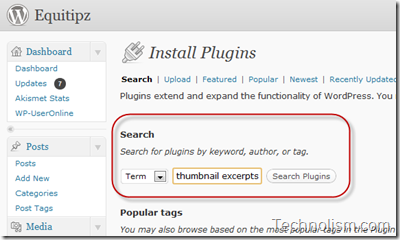 Install the Thumbnail for Excerpts Plugin in WordPress Dashboard