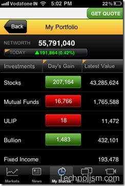 moneycontrol markets on mobile Stock Portfolio