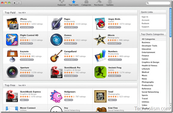 How Apple Mac app store looks like