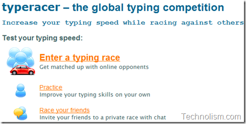Enter a Typing Race - TypeRacer Online browser based typing game