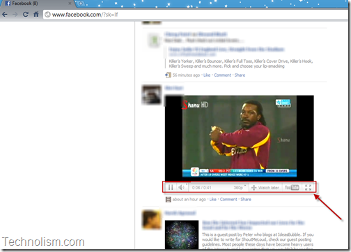 Youtube video in Facebook Full screen button - Google Chrome Extension