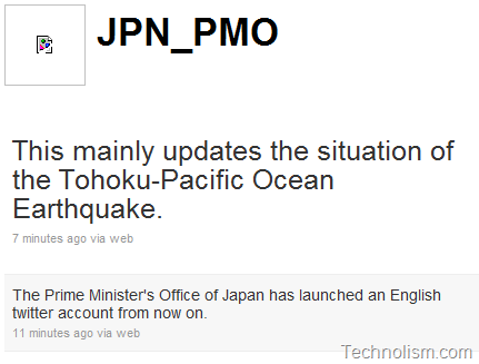 Japanese Prime Minister starts Twitter Account in English Language for Quake Updates