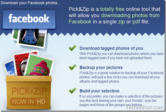 Pick N Zip Facebook Photo Album Downloader
