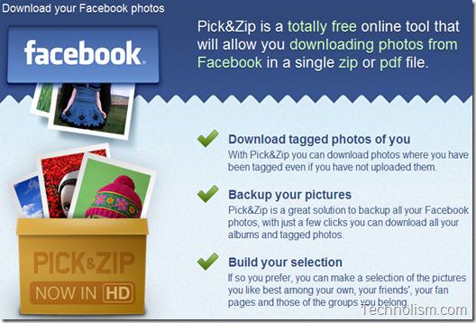Pick N Zip Facebook Photo Album Downloader