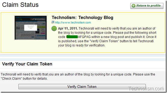 Verify Claim Token in blog post - Technorati