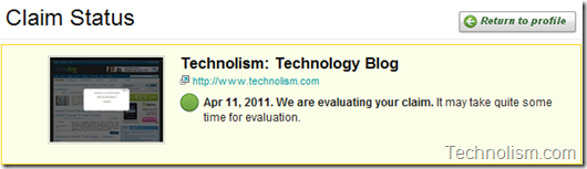Blog Claim status - Technorati