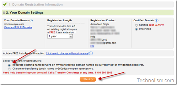 Transfer domain to Godaddy - Domain Settings