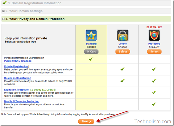 Transfer domain to Godaddy - Privacy and Protection package