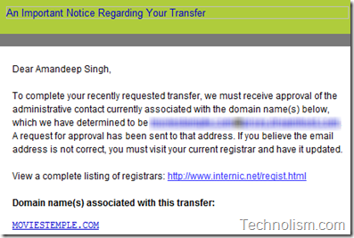 Email to confirm email address - Domain transfer process to Godaddy