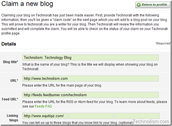 Add Blog Details on Technorati