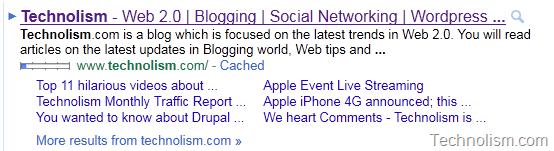 Technolism gets 6 Google Sitelinks
