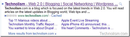 Technolism Google Sitelinks