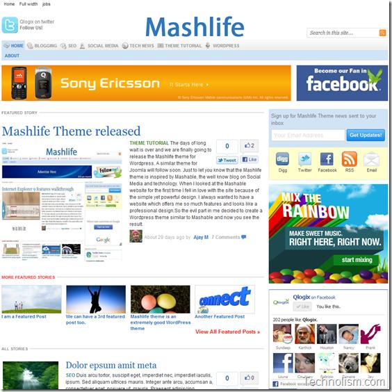 Mashable Clone WordPress Theme - Mashlife