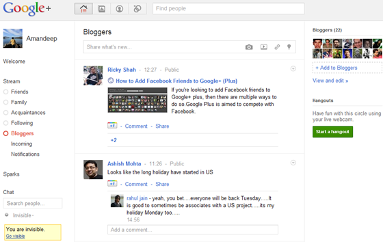 Google Plus Profile - Bloggers Stream