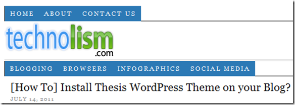 Two Navigation Menus in Thesis WordPress Theme
