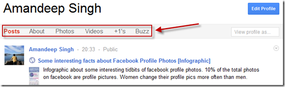 +1 and Buzz tabs in Google Plus
