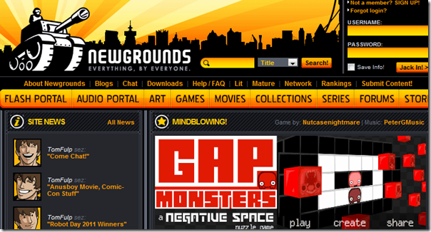 NewGrounds - Free Flash Games Online
