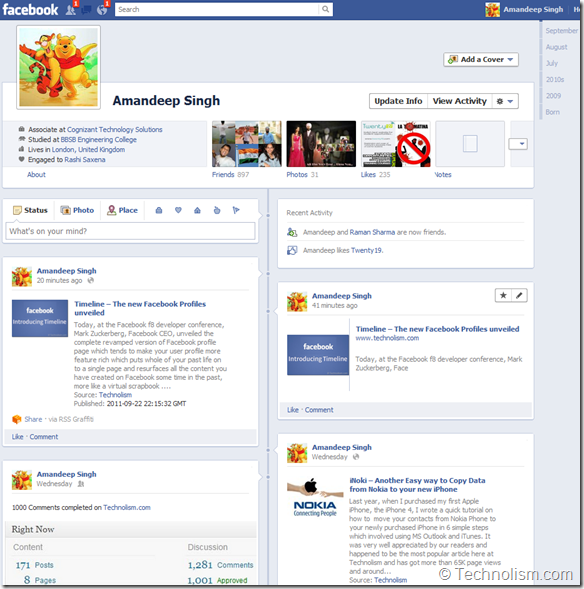 Facebook User Profile Timeline - The Story of Your Life