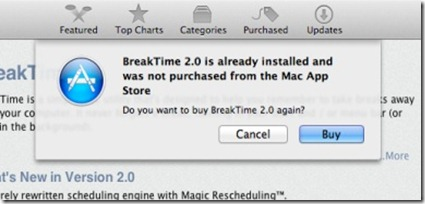 Mac App Store re-buy warning