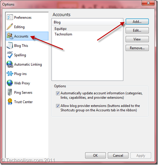 Add a Blog to Windows Live Writer 2011