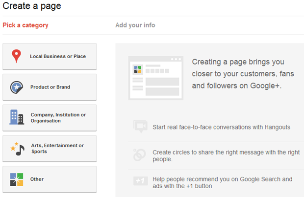 Create Google Plus Page