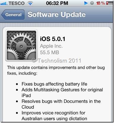 iOS 5.0.1 update to fix iPhone 4S battery issue