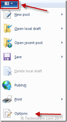 Windows Live Writer 2011 Options