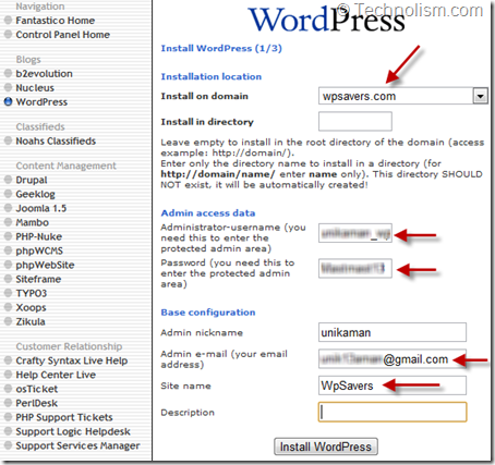 Wordpress Settings - HostGator