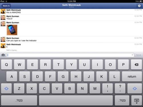Facebook Messenger App for iPad