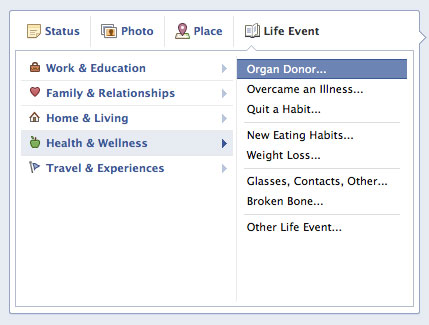 Facebook Organ Donor Option